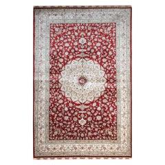 Red Handmade Silk Carpet, Floral Chinese Herekeh Style Silk Rug