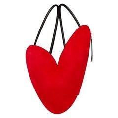 Red Heart black leather backpack / shoulder bag