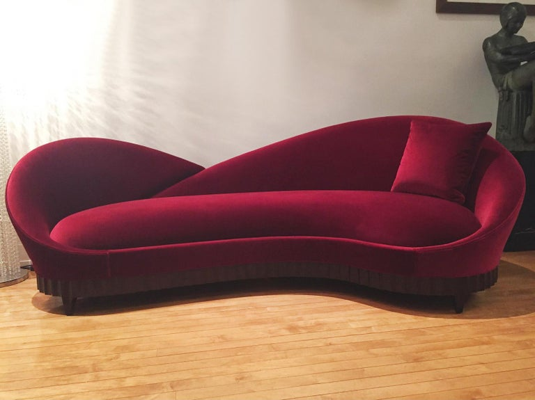Hand-Crafted Red Heart Sofa with Solid Mahogany and Red Velvet Fabric For Sale