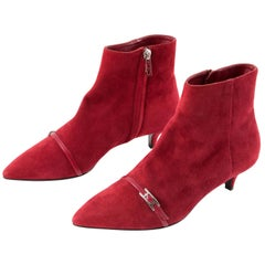 Red Hermes Deep Red Suede Leather Boots Shoes