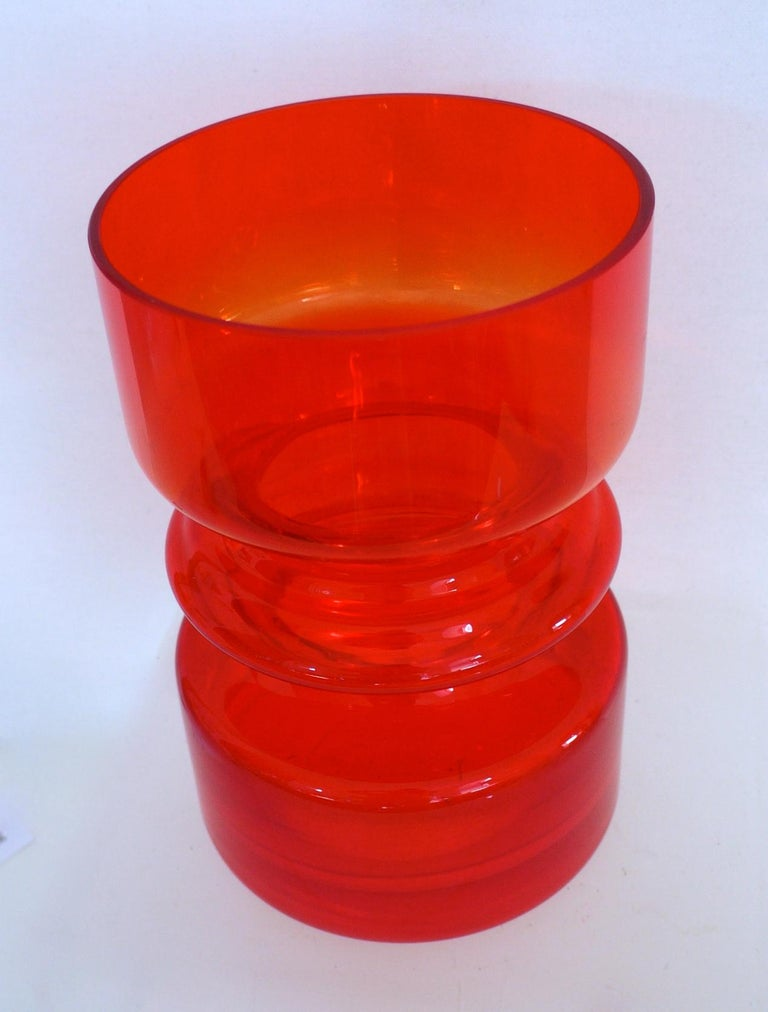 Scandinavian Modern Red Hooped Glass Vase Tamara Aladin Riihimaki 'Finland' 1959 Mid-Century Modern For Sale