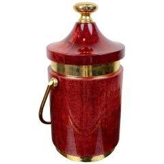 Red Ice Bucket in Goatskin and Brass by Aldo Tura, Italy, 1960s