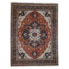 Red Indo Heriz Hand Spun New Zealand Wool Hand Knotted Oriental Rug