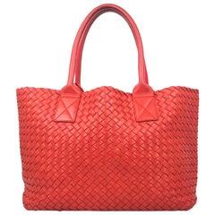 Red Intrecciato Leather Bottega Veneta Small Cabat Tote Bag