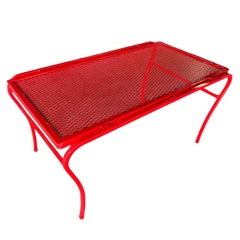 "Red Iron and Mesh ""U"" Leg Outdoor/Patio Coffee Table by Woodard"
