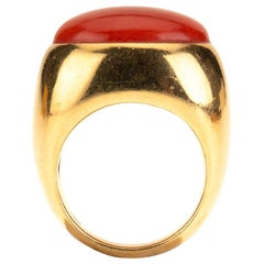 Red Italian Cabochon Coral Gold Ring