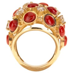 Red Italian Coral Diamond 18 Karat Gold Ring