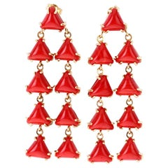 Red Italian Coral Earrings 18 Karat Gold