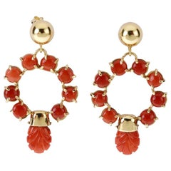 Red Italian Coral Earrings 18 Karat Yellow Gold