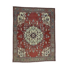 Red/Ivory 1880 Antique Hand Knotted Persian Serapi Rug
