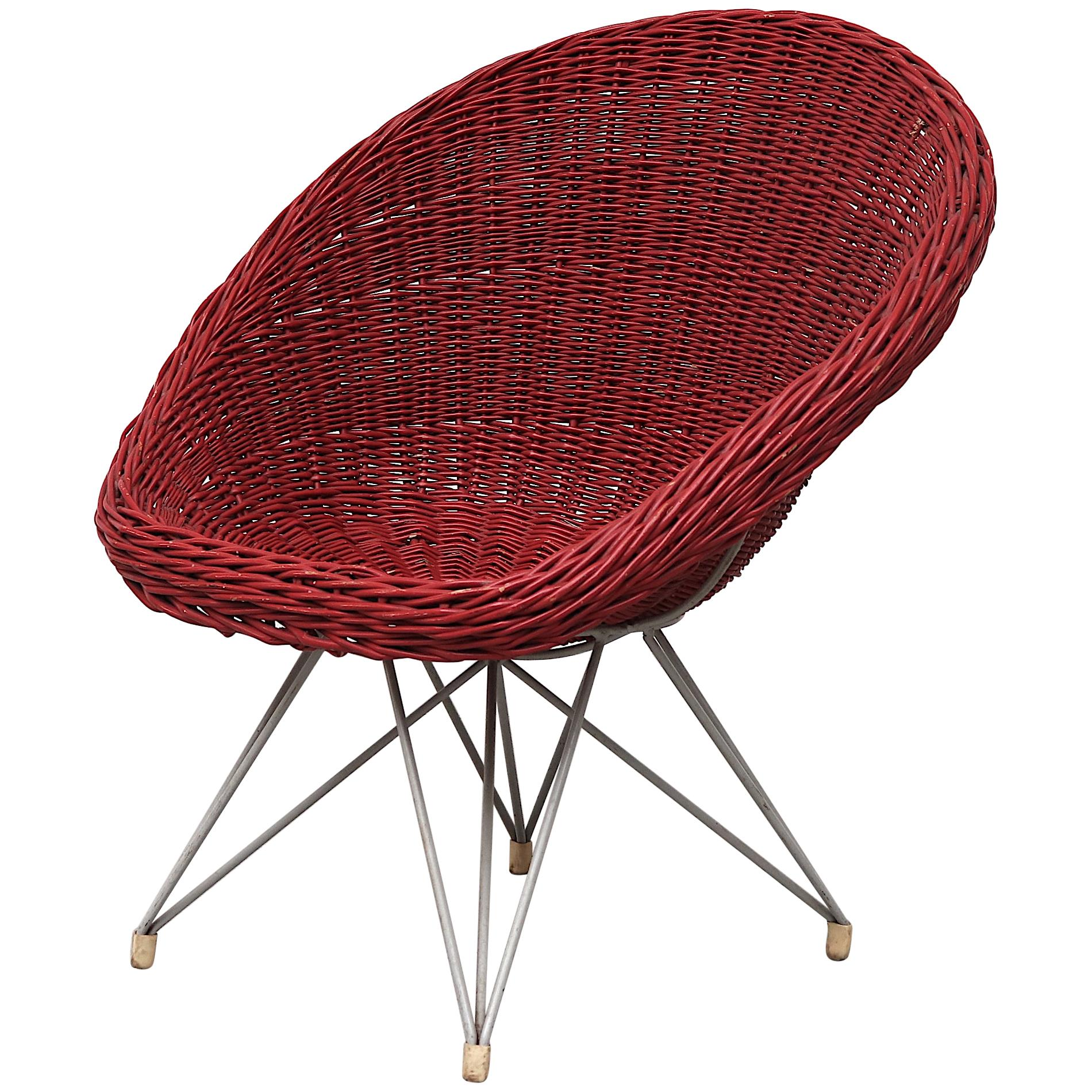 Red Jacques Adnet Style Bamboo Hoop Chair by Teun Velthuizen for Urotan
