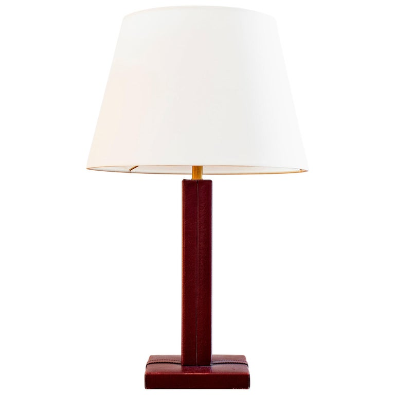 Red Jacques Adnet Style Table Lamp For Sale