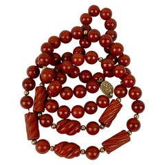 Red Jasper Beads with 14 Karat Gold Spacers