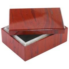 Marbled Red Jasper Semi-precious Decorative Desk Accessory / Gift Box with Lid
