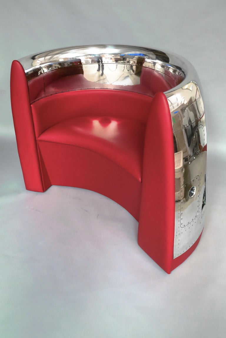 British Red Jet Cowling Aircraft Chair For Sale