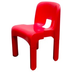 Red Joe Colombo Universale Plastic Chair by Kartell, Italy, 1967