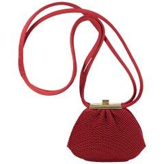Red Judith Leiber Satin Evening Bag