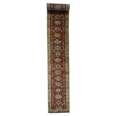Red Karajeh Pure Wool Hand Knotted Extra Large Runner Hand Knotted Oriental Rug