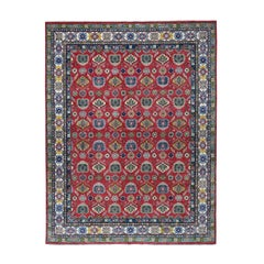Red Kazak Geometric Design Pure Wool Hand Knotted Oriental Rug