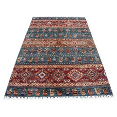 Red Khorjin Design Super Kazak Pictorial Pure Wool Hand Knotted Oriental Rug