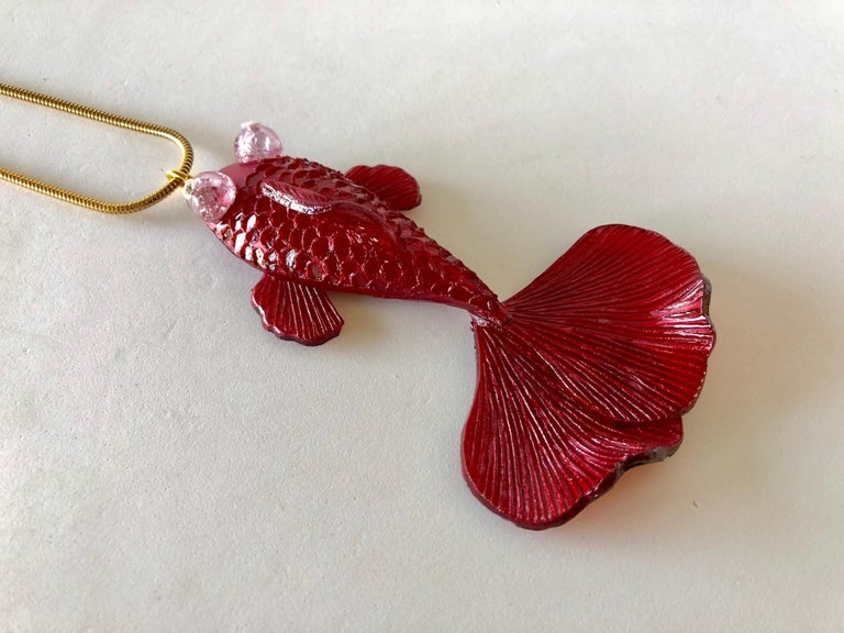 Red Koi Fish Statement Pendant Necklace  For Sale 2