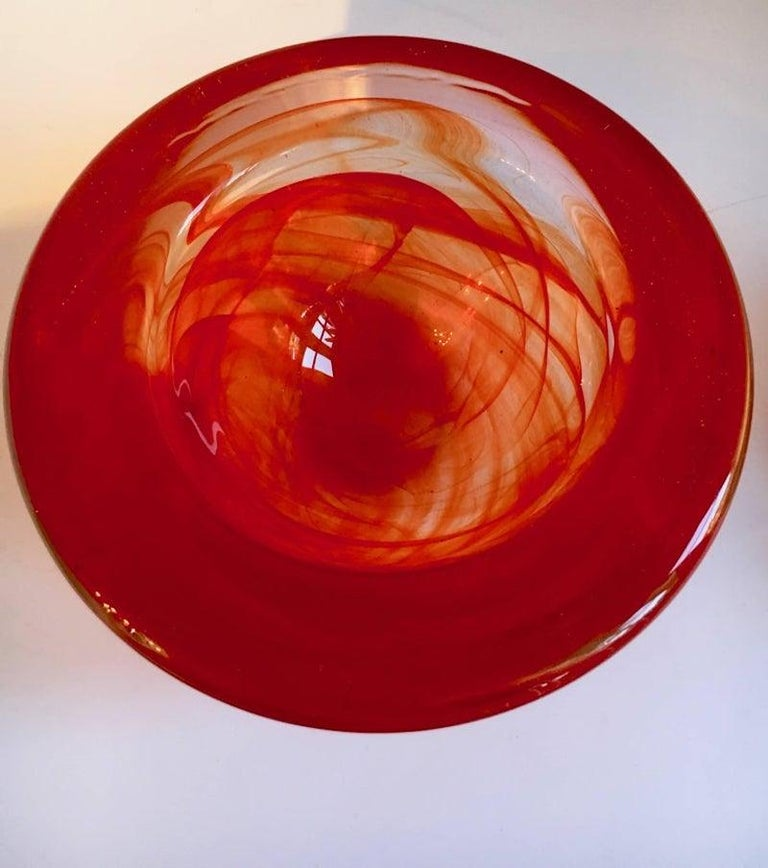 Red Kosta Boda Bowl Votive by Anna Ehrner In Excellent Condition For Sale In Los Angeles, CA