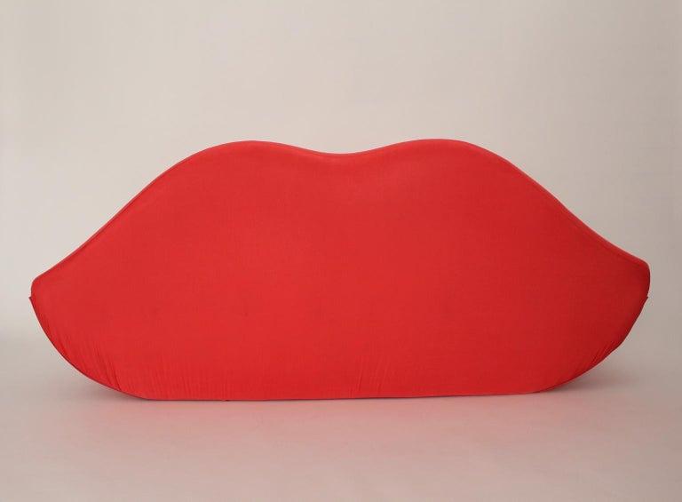 Mid-Century Modern Red La Bocca Pop Art Lips Vintage Sofa Attr. to Studio 65 for Gufram Italy 1970s For Sale