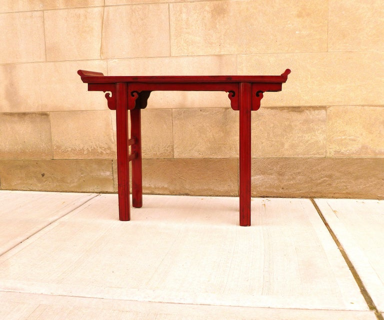 Ming Red Lacquer Altar Table For Sale