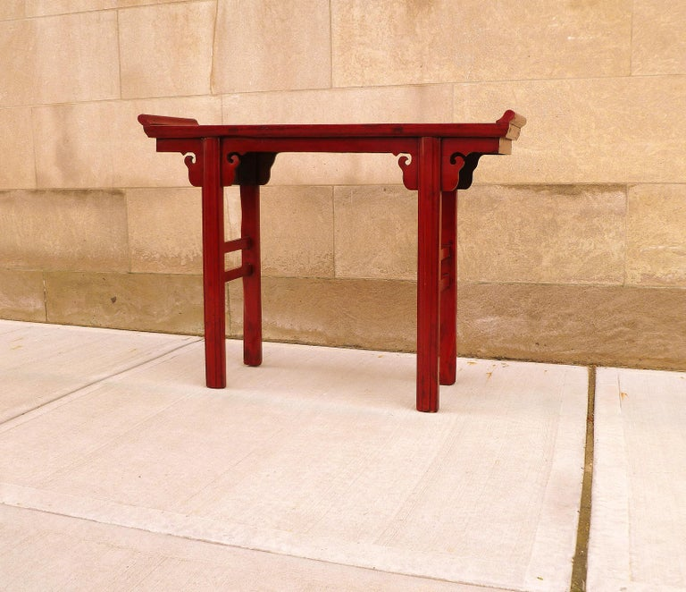 Chinese Red Lacquer Altar Table For Sale