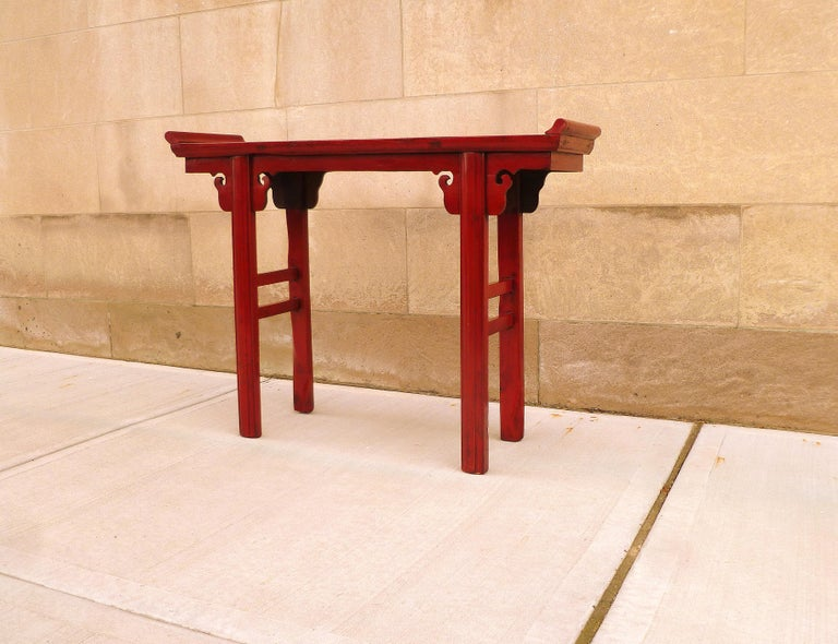 Lacquered Red Lacquer Altar Table For Sale