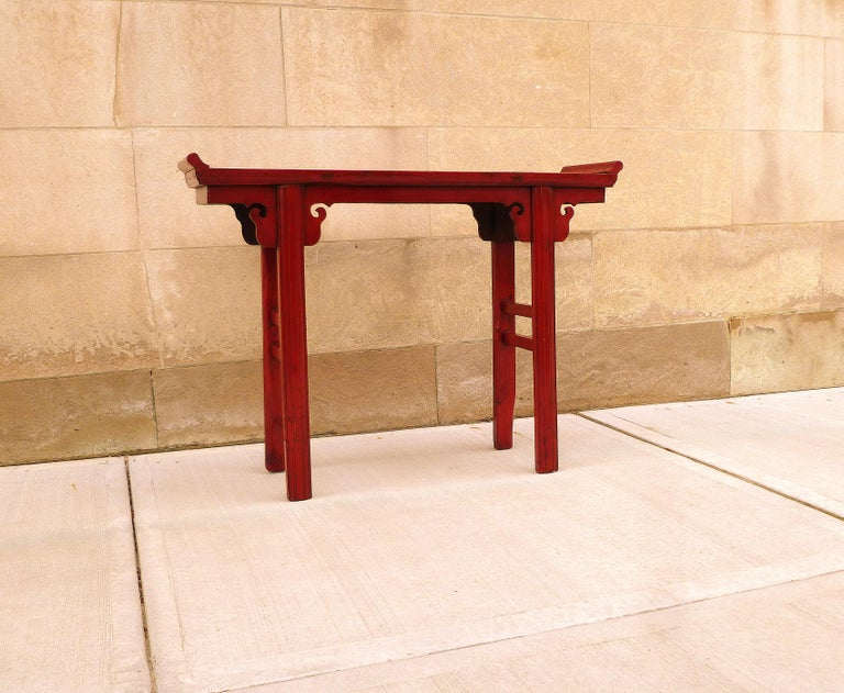 Mid-20th Century Red Lacquer Altar Table For Sale