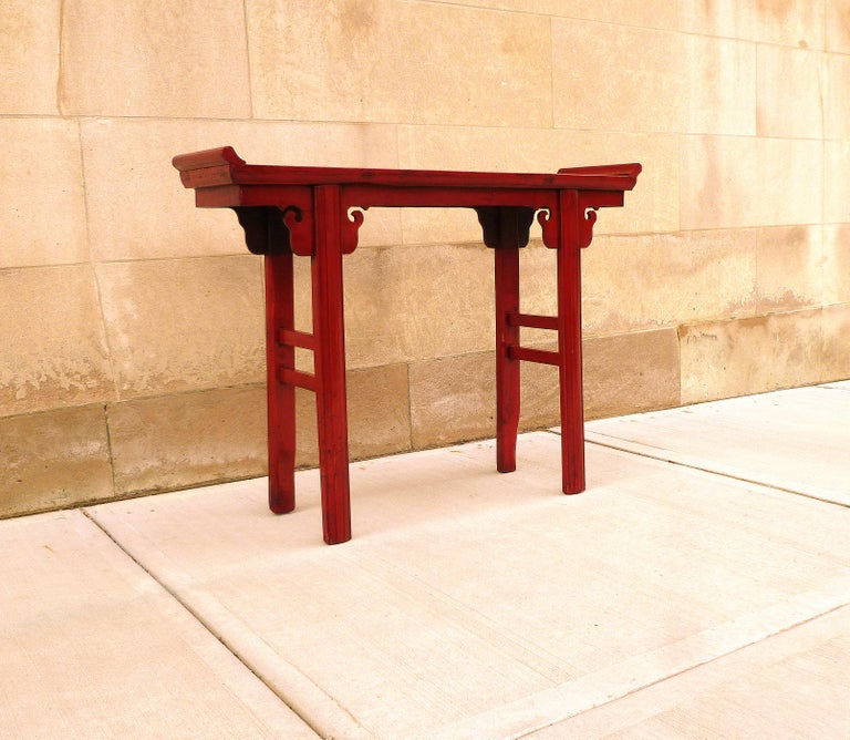 Wood Red Lacquer Altar Table For Sale