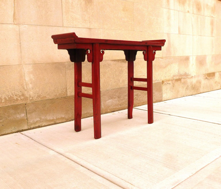 Red Lacquer Altar Table For Sale 1
