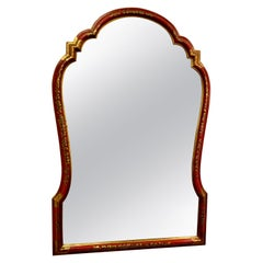 Red Lacquer and Chinoiserie Framed Bevel Edge Mirror by Baker, circa 1970s