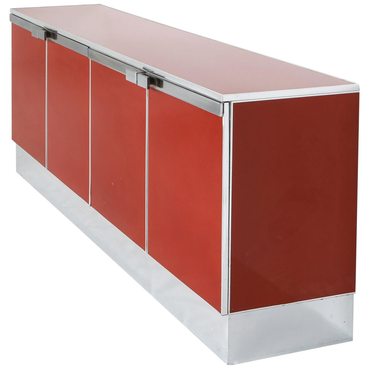 Red Lacquer and Chrome Credenza Style Maison Jansen