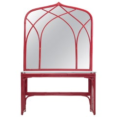 Red Lacquer Bamboo console Table with Mirror