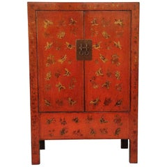 Red Lacquer Cabinet with Gilt Motif