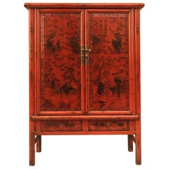 Red Lacquer Cabinet with Painted Motif