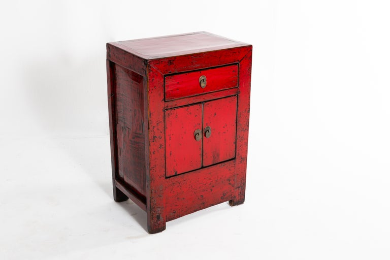 20th Century Red Lacquer Chinese Cabinet with a Drawer and Pair of Doors For Sale