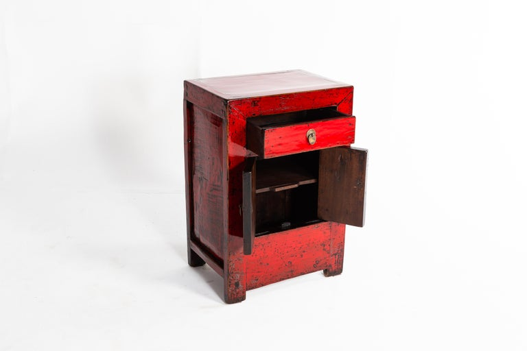 Elm Red Lacquer Chinese Cabinet with a Drawer and Pair of Doors For Sale