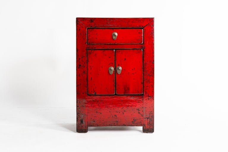 Red Lacquer Chinese Cabinet with a Drawer and Pair of Doors For Sale 1