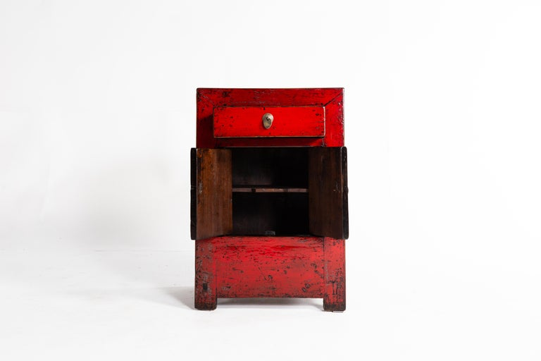 Red Lacquer Chinese Cabinet with a Drawer and Pair of Doors For Sale 3