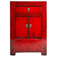 Red Lacquer Chinese Cabinet with a Drawer and Pair of Doors