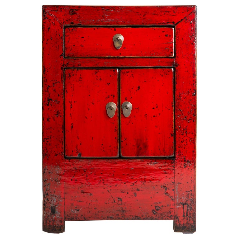 Red Lacquer Chinese Cabinet with a Drawer and Pair of Doors For Sale
