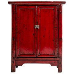 Red Lacquer Chinese Cabinet with a Pair of Doors