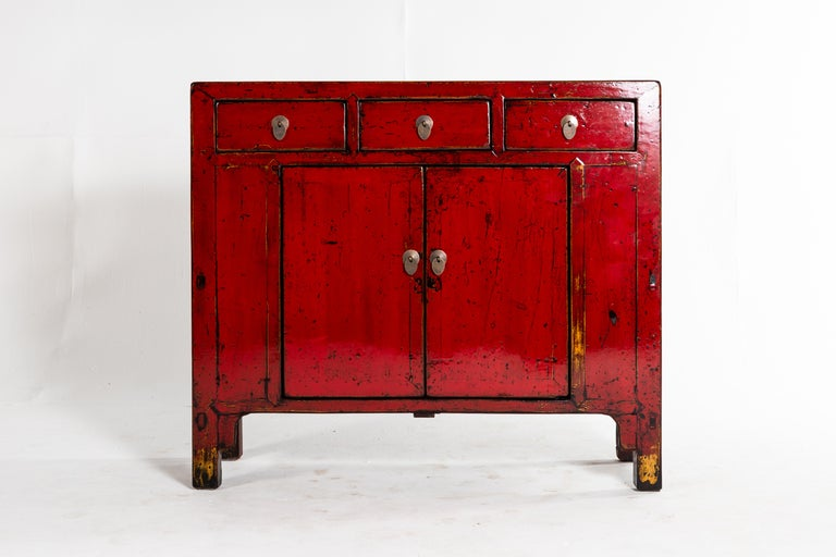 Elm Red Lacquer Chinese Cabinet with Three Drawers and a Pair of Doors