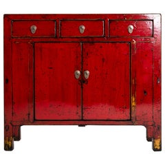 Red Lacquer Chinese Cabinet with Three Drawers and a Pair of Doors