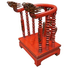 Red Lacquer Chinese Child's Chair