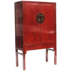 Red Lacquer Chinese Wedding Cabinet from China's Fujian Province, 1860-1880 For Sale