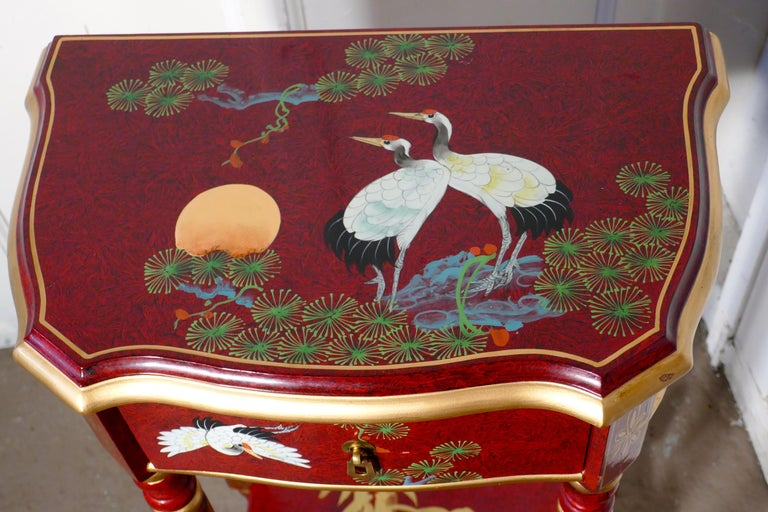 Japonisme Red Lacquer Chinoiserie Side Table For Sale